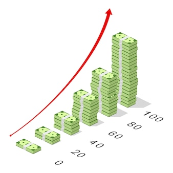 Croissance du marché avec graphique et billets de banque en dollars. gros tas d'argent liquide. concept bancaire et financier isométrique. croissance des bénéfices en devises