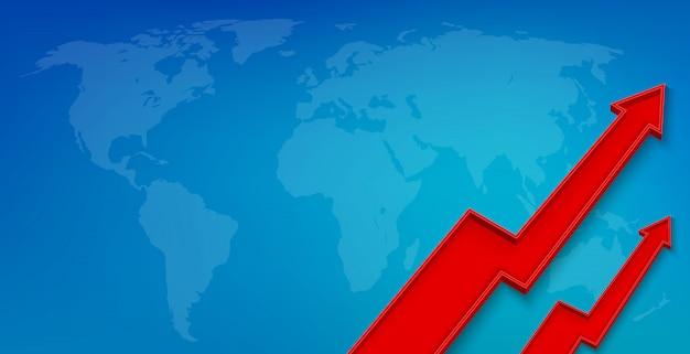 Croissance financière flèche 3d, bannière de croissance graphique