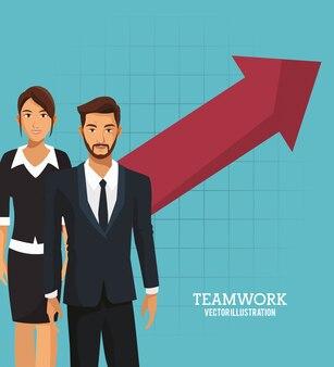 Croissance de travail d'équipe des gens d'affaires arrow