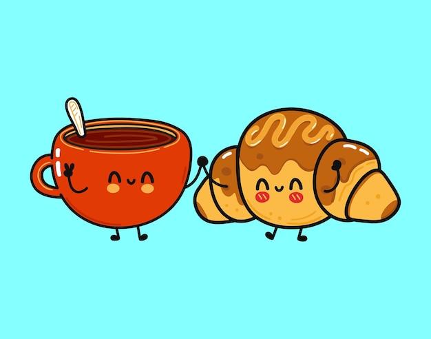 Croissant au chocolat heureux drôle mignon et tasse de caractère de café
