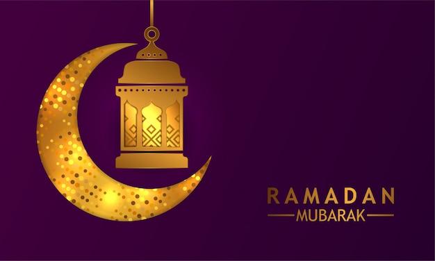 Croissant doré avec lanterne lueur pour ramadan mubarak