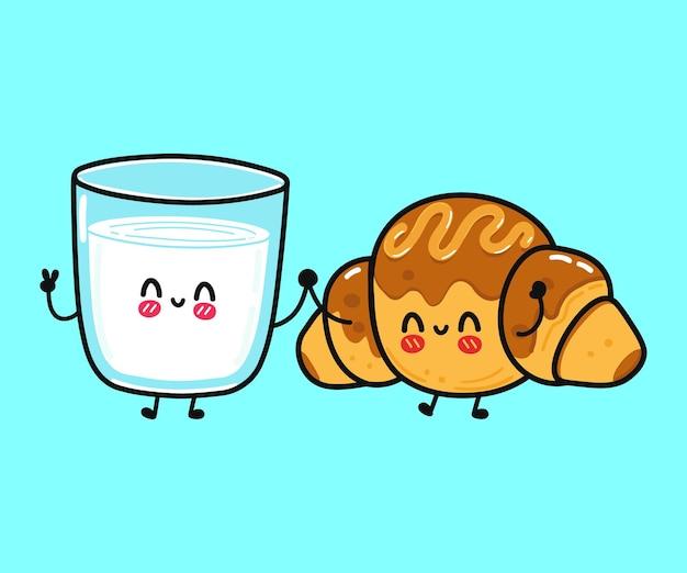 Croissant heureux drôle mignon et verre de caractère de lait