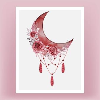 Croissant de lune aquarelle dans l'ombre rouge avec rose bordeaux