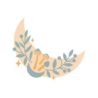 Croissant de lune boho magique avec des feuilles, des étoiles, des fleurs, des champignons isolés sur fond blanc. plate illustration vectorielle. éléments boho décoratifs pour tatouage, cartes de voeux, invitations, mariage