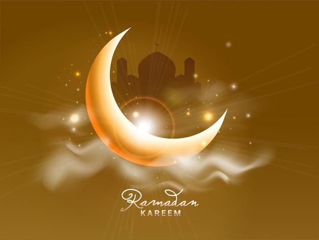 Croissant de lune brillant et silhouette de mosquée sur fond marron. mois sacré de