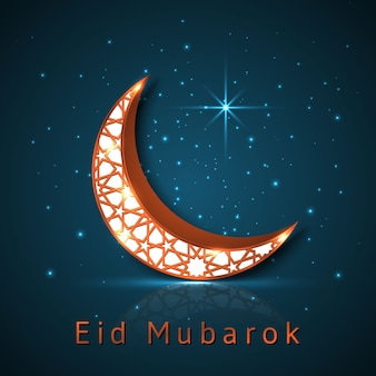 Croissant de lune de conception islamique eid mubarak.