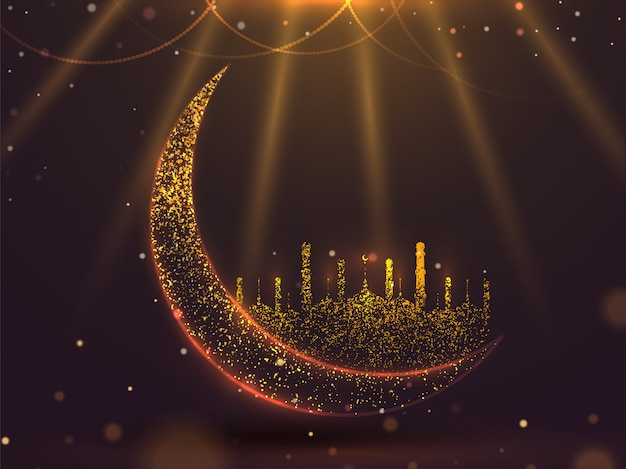 Croissant de lune effet paillettes avec mosquée sur fond marron brillant