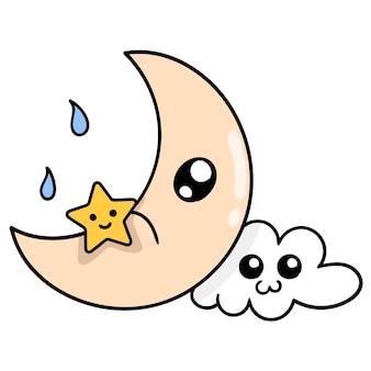 Le croissant de lune et l'étoile de nuit et les nuages dans le ciel, art d'illustration vectorielle. doodle icône image kawaii.