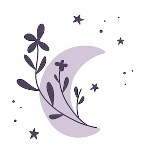 Croissant de lune de fleurs. beau croissant romantique de style bohème. élément de lune botanique. conception de tatouage, logo, invitation de mariage, carte de voeux, décor d'halloween. illustration vectorielle à plat.