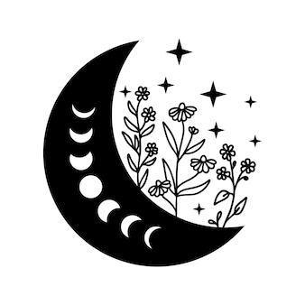 Croissant de lune avec des fleurs et des étoiles vecteur de phases de lune