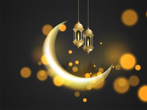 Croissant de lune et lanternes lumineuses suspendues sur bokeh
