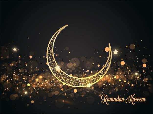 Croissant de lune orné d'or avec des étoiles et un effet de lumière bokeh sur fond noir pour la célébration du ramadan kareem.