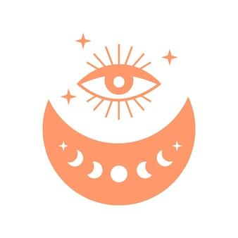 Croissant de lune avec phase de lune mauvais œil et étoiles