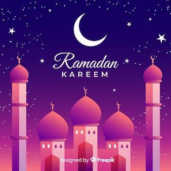 Croissant de lune ramadan et mosquée arabe