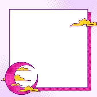 Croissant de lune rose pop art avec cadre de nuages jaunes