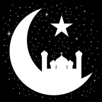 Croissant de lune avec la silhouette de la mosquée