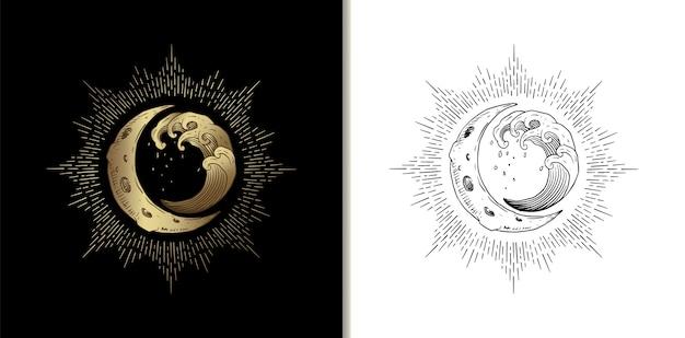 Croissant de lune et vagues à marée haute, illustration de lecteur de tarot de guidage spirituel