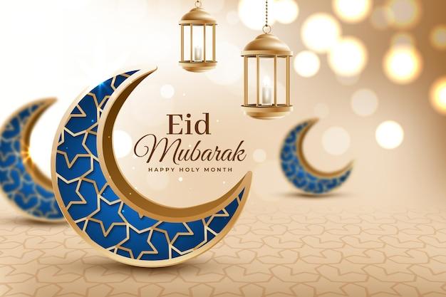 Croissant de lunes bleues réalistes eid mubarak