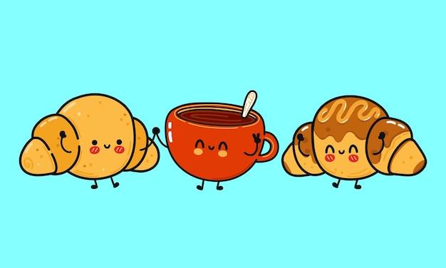 Croissants heureux mignons drôles et une tasse d'ensemble de paquet de café