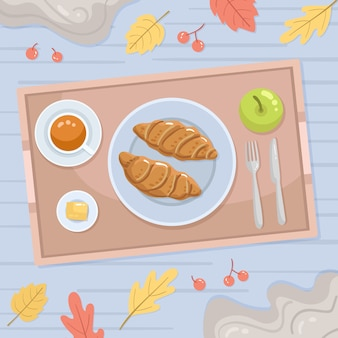 Croissants illustration de nourriture de confort