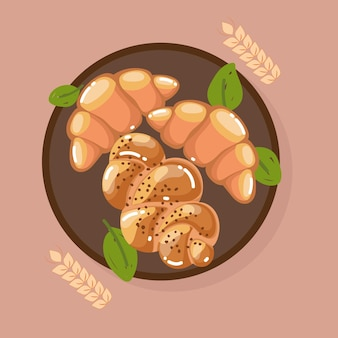 Croissants et pain tressé