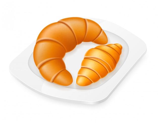 Croissants se trouvant sur une illustration vectorielle de plaque