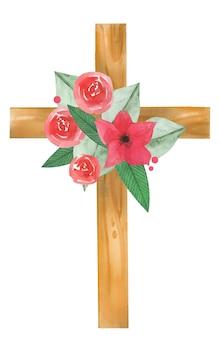 Croix en bois sainte aquarelle dessinée à la main