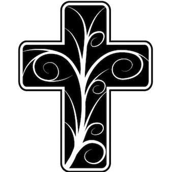 Croix catholique avec un design floral