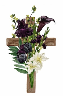 Croix chrétienne en bois ornée de fleurs et de feuilles