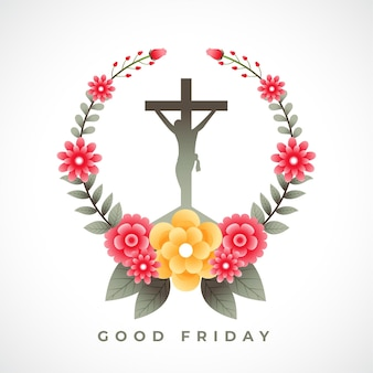 Croix de crucifixion de jésus avec des fleurs carte de voeux de vendredi saint