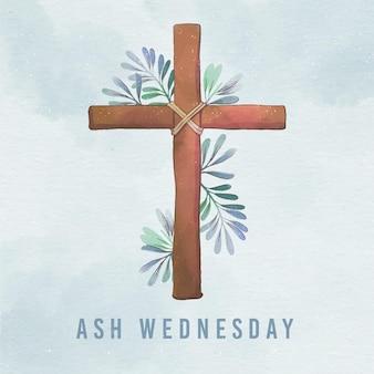 Croix du mercredi des cendres aquarelle