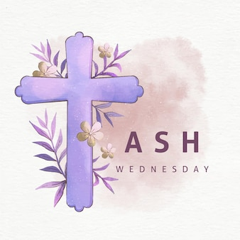 Croix du mercredi des cendres à l'aquarelle
