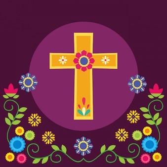 Croix mexicaine et fleurs, mexique culture tourisme repère latin et illustration de fête