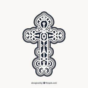 Croix ornementale plate