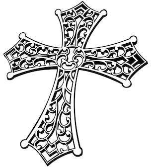 Croix religieuse sculptée en noir et blanc