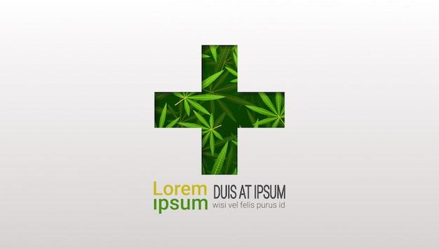 Croix Verte La Marijuana Médicale Laisse La Thérapie De Cannabis Concept De Soins De Santé Copie Espace Horizontal Plat Vecteur Premium