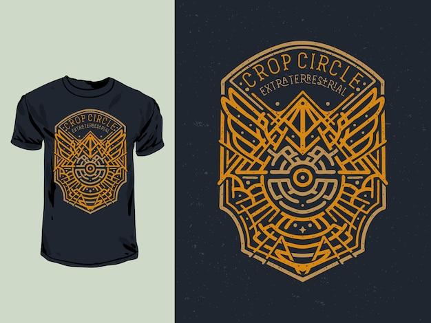 Le crop circle de l'illustration de t-shirt insigne extraterrestre