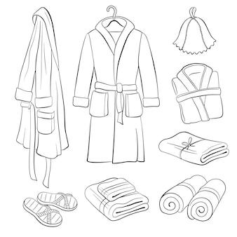 Croquis d'accessoires de sauna.