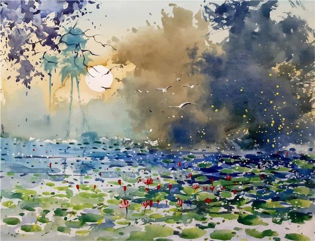 Croquis aquarelle de belle fleur