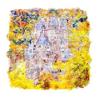 Croquis aquarelle du château de burg eltz dessiné à la main