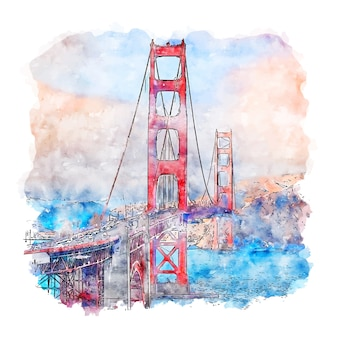 Croquis aquarelle de golden gate bridge en californie