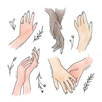 Croquis aquarelle mains linéaires avec des fleurs