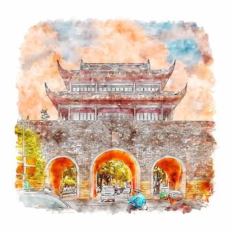 Croquis aquarelle de suzhou chine dessiné à la main