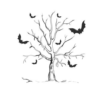 Croquis d'arbre halloween