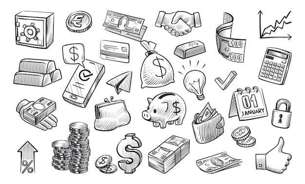 Croquis d'argent. éléments financiers dessinés à la main dans le style de croquis, espèces, pièces d'or et de pile, coffre-fort et portefeuille, carte de crédit et devise, paiement bancaire et concept d'économie ensemble isolé de vecteur noir