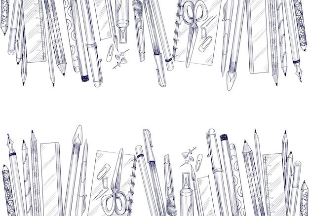 Croquis d'art dessiné main avec composition de fournitures scolaires