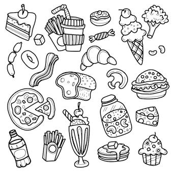 Croquis d'art de ligne d'icônes de restauration rapide