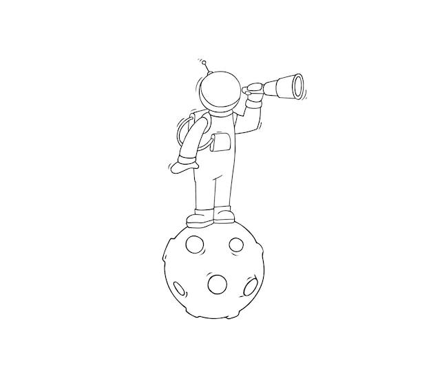 Croquis d'astronaute avec spyglass.