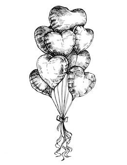 Croquis de ballons en forme de coeur, carte de saint valentin. affiche de valentine à l'encre dessinée à la main