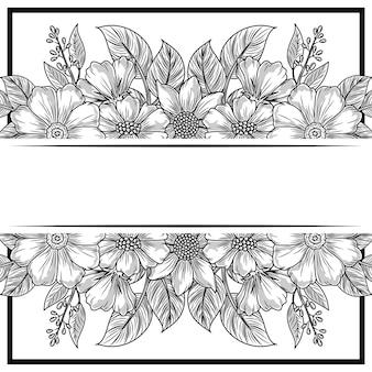 Croquis de bannière rustique fleurs feuillage